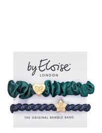 ByEloise Gold Heart Silk Scrunchie And Gold Star Woven Navy Shimmer Hiustarvikkeet Vihreä ByEloise GREEN/NAVY