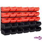 vidaXL 32-osainen säilytyslokerosarja seinällä punainen ja musta