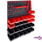 vidaXL 29-osainen säilytyslokerosarja seinällä punainen ja musta