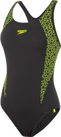 speedo Boomstar Splice Flyback One Piece Swimsuit Women, black/fluo yellow
