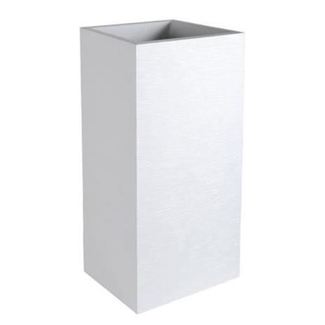 EDA korkean neliön muotoinen Graphit-kukkaruukku - 39,5 x 39,5 x K 80 cm - 31 L - valkoinen kalkittu