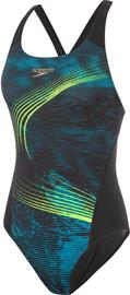 speedo Placement Recordbreaker Swimsuit Women, moonstripes black/nordic teal