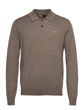 Morris Merino Polo Shirt Polos Long-sleeved Ruskea Morris BROWN