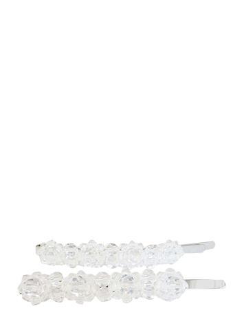 PIPOL'S BAZAAR Valentina Crystal Clip Clear 2 Pcs Hiustarvikkeet Hopea PIPOL'S BAZAAR WHITE