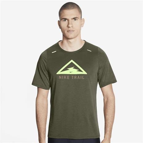 Nike M NK RISE 365 TOP SS TRAIL MEDIUM OLIVE/BAREL