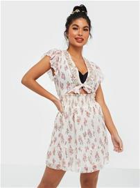 River Island Ditsy Print Emb Sleeve Mini Dress