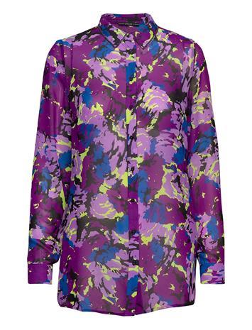 GUESS Jeans Ls Clouis Shirt Pitkähihainen Paita Liila GUESS Jeans ABSTRACT FLOWER P
