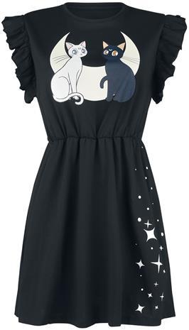 Sailor Moon - Luna and Artemis - Moon Cats - Keskipitkä mekko - Naiset - Musta