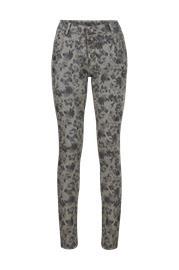 Cream Flower Pants Baiily Fit -housut