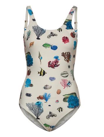 DEDICATED Swimsuit Rana Coral Reef Uimapuku Uima-asut Kermanvärinen DEDICATED OFF-WHITE