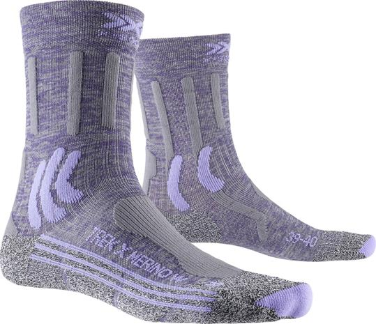 X-Socks Trek X Merino Sukat Naiset, grey purple melange/grey melange