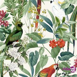 DUTCH WALLCOVERINGS Tapetti trooppiset linnut valkoinen ja vihreä, Tapetit