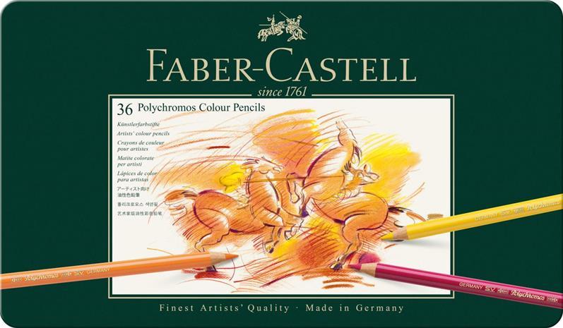 Faber-Castell Polychromos -värikynät peltirasiassa, 36 väriä