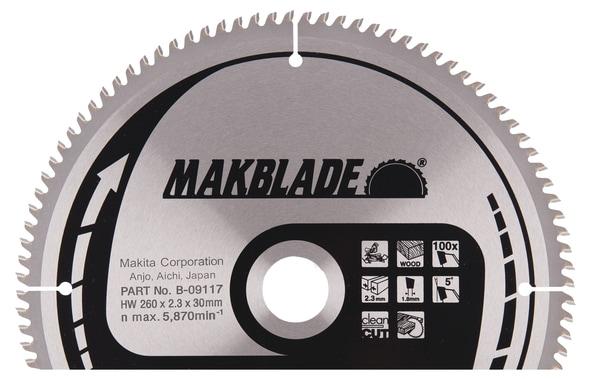 Katkaisuterä puulle Makita; 260x2,3x30,0 mm; Z100; 5°