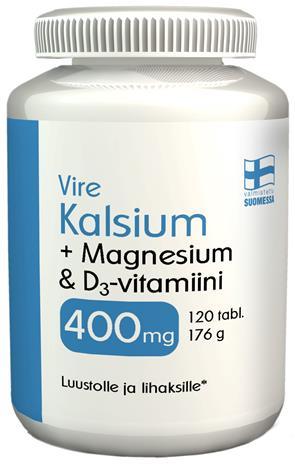 Vire Kalsium + Magnesium & D-vitamiini 120 tabl. ravintolisä