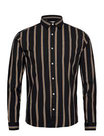 Lindbergh Printed Stripe Shirt L/S Paita Rento Casual Musta Lindbergh BLACK