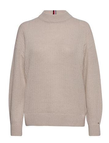 Tommy Hilfiger Textured Stitch Mock-Nk Sweater Kilpikonnakaulus Poolopaita Beige Tommy Hilfiger VINTAGE WHITE