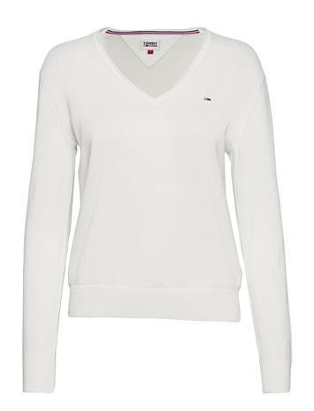 Tommy Jeans Tjw Soft Touch V-Neck Sweater Neulepaita Valkoinen Tommy Jeans SNOW WHITE