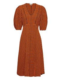 Notes du Nord Riley Dress Polvipituinen Mekko Oranssi Notes Du Nord POP ORANGE CHECK