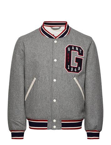 GANT D1. Melton Varsity Jacket Ohut Takki Harmaa GANT DARK GREY MELANGE