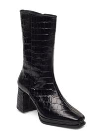 Flattered Lisa Black Croco Leather Shoes Boots Ankle Boots Ankle Boot - Heel Musta Flattered BLACK