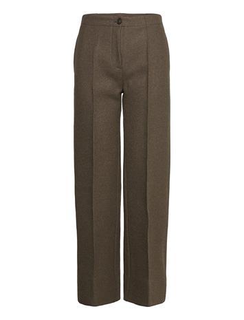 Wood Wood Marlena Wool Trousers Suoralahkeiset Housut Vihreä Wood Wood DARK GREEN