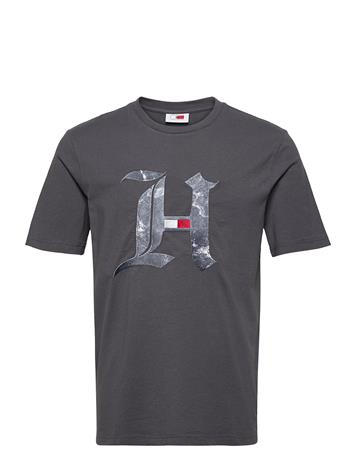 Tommy Hilfiger Lh Marble H Tee T-shirts Short-sleeved Harmaa Tommy Hilfiger COAL
