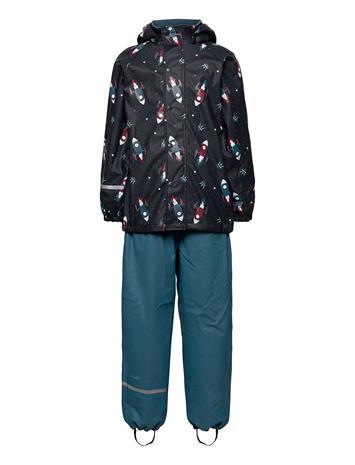 CeLaVi Rainwear Set -Aop, W. Fleece Sadevaatteet Sininen CeLaVi ICE BLUE
