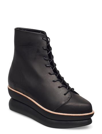 Gram 503g Lace-Up Black Leather Shoes Boots Ankle Boots Ankle Boot - Flat Musta Gram BLACK LEATHER