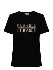 FREE/QUENT Fqfenja-Tee-Durable T-shirts & Tops Short-sleeved Musta FREE/QUENT BLACK W/GOLD FOIL PRINT