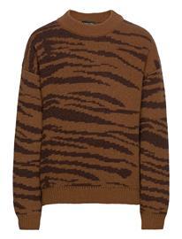 Mini Rodini Tiger Knitted Sweater Svetari Collegepaita Ruskea Mini Rodini BROWN