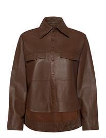MDK / Munderingskompagniet Naomi Thin Leather Shirt Pitkähihainen Paita Ruskea MDK / Munderingskompagniet MONKS ROBE