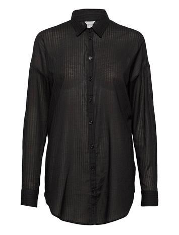 Lindex Shirt Solange Cotton Pitkähihainen Pusero Paita Musta Lindex BLACK