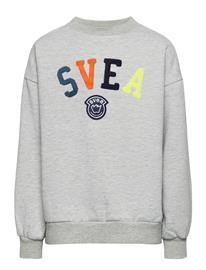 Svea K. Logo Crew Sweat Svetari Collegepaita Harmaa Svea MID GREY MELANGE, Lastenvaatteet