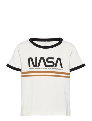 LMTD Nlfnasa Anni Ss Short R Top Nas T-shirts Short-sleeved Valkoinen LMTD SNOW WHITE, Lastenvaatteet