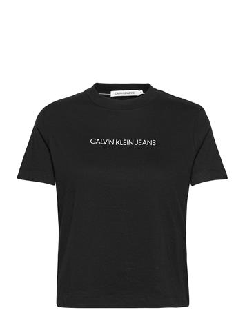 Calvin Klein Jeans Shrunken Inst Modern Ss Tee T-shirts & Tops Short-sleeved Musta Calvin Klein Jeans CK BLACK