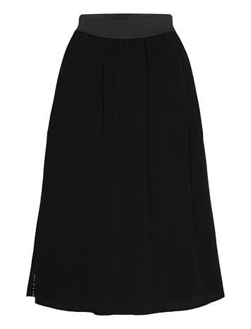 Calvin Klein Jeans Outline Logo Drapey Skirt Polvipituinen Hame Musta Calvin Klein Jeans CK BLACK