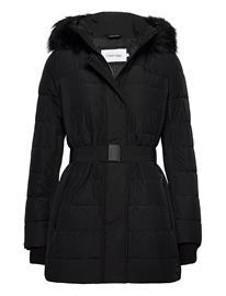 Calvin Klein Scuba Belted Coat Parka Takki Musta Calvin Klein CK BLACK