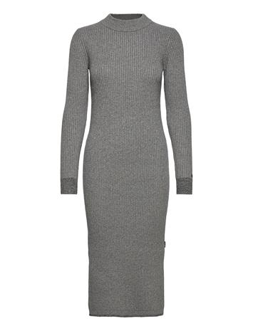 Calvin Klein Ls Roll Neck Knitted Midi Dress Polvipituinen Mekko Harmaa Calvin Klein MID GREY HEATHER