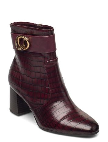 Tamaris Woms Boots Shoes Boots Ankle Boots Ankle Boot - Heel Punainen Tamaris MERLOT CROCO