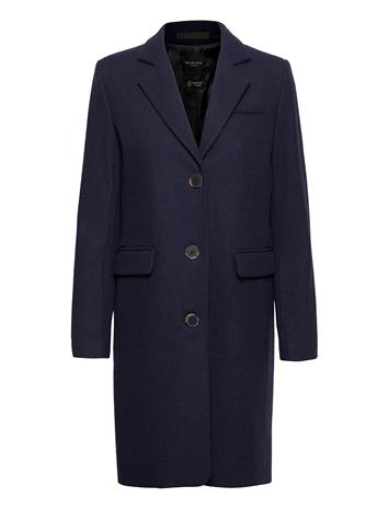 Selected Femme Slfelina Wool Coat B Noos Villakangastakki Pitkä Takki Sininen Selected Femme MARITIME BLUE