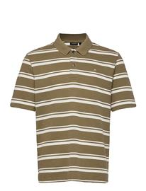 J. Lindeberg Theo Striped Flat Pique Polos Short-sleeved Vihreä J. Lindeberg COVERT GREEN