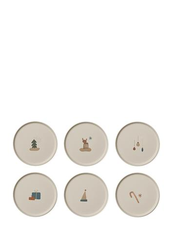 Liewood Patrick Bamboo Plate 6-Pack Home Meal Time Plates & Bowls Monivärinen/Kuvioitu Liewood HOLIDAY MIX