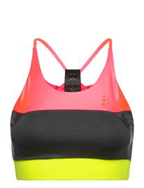 Craft Asome Strap Top Lingerie Bras & Tops Sports Bras - ALL Vaaleanpunainen Craft PANIC/BLACK