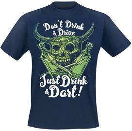 Darts - Just Drink And Dart - T-paita - Miehet - Laivastonsininen