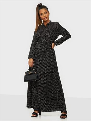 Y.A.S Yassavanna 7/8 Belt Ankle Dress D2 Black Light Taupe Dots