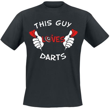 Darts - This Guy Loves Darts - T-paita - Miehet - Musta