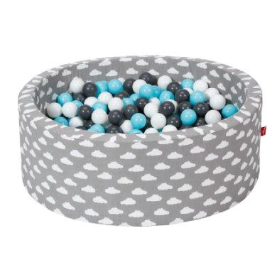Knorr® toys pallokylpy pehmeä - Harmaat valkoiset pilvet - 300 palloa kerma / harmaa / vaaleansininen