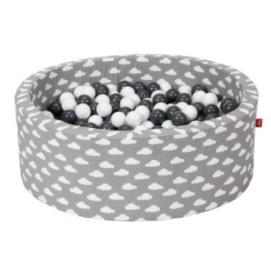 Knorr® toys pallokylpy pehmeä - Harmaat valkoiset pilvet - 300 palloa harmaa / kerma