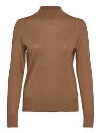 Tommy Hilfiger Wool Silk Mock-Nk Sweater Ls Neulepaita Ruskea Tommy Hilfiger COGNAC, Naisten paidat, puserot, topit, neuleet ja jakut
